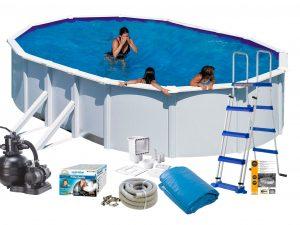 Ovale basseng med støtte